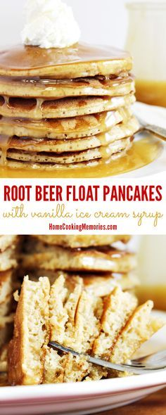 This Root Beer Float Pancakes recipe is like having a classic root beer float, but in a breakfast favorite. Not only do the pancakes taste like root beer, but you top the pancakes with a homemade syrup that is made with VANILLA ICE CREAM! Go ahead…treat yourself!