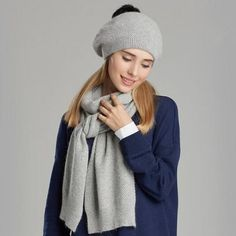 Pom pom bobble hat and scarf set for women winter knit hat scarf combo c2ca938e171