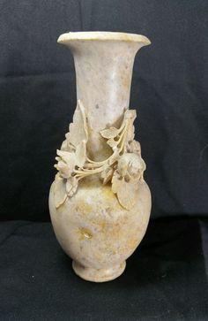 """Vintage Chinese Carved Soapstone Vase Floral Rose Design 6.5"""""""