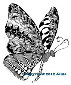 zentangle butterfly/ would be a good tat! Easy Zentangle, Zentangle Drawings, Doodles Zentangles, Zentangle Patterns, Art Drawings, Zantangle Art, Zen Art, Tangle Doodle, Doodle Art