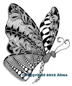 zentangle butterfly drawing animals butterflies zendoodle doodle patterns doodles drawings designs zentangles easy zen coloring animal patronen whilst contemplating third