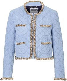 Moschino Quilted Cotton Jacket with Chain Trim