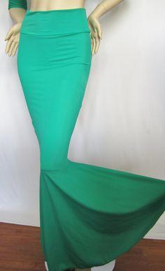 High Waist Mermaid Skirt Fish tail,Teal Green Stretch Lycra, Fairy Circle skirt, ZanzaDesignsClothing