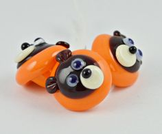 Lampwork glass set of 3 brown bear buttons for by IzzyBeads, £7.50