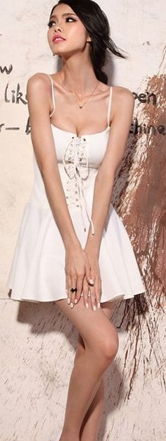 Sexy White Above Knees Vintage Mini Dress! More at http://www.cutedresses.co/go/Cotton-Solid-Bodycon-Strap-Base-Club-Mini-Dress