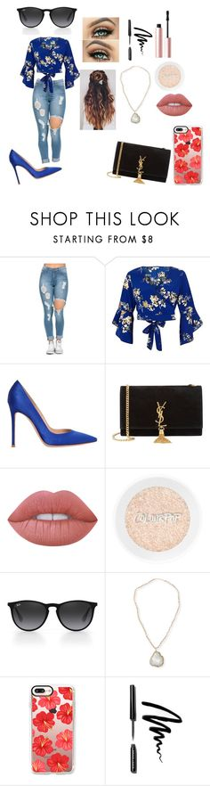"""Untitled #135"" by alexisnagrampa ❤ liked on Polyvore featuring River Island, Gianvito Rossi, Yves Saint Laurent, Lime Crime, Ray-Ban, Panacea, Casetify, Bobbi Brown Cosmetics and Too Faced Cosmetics"