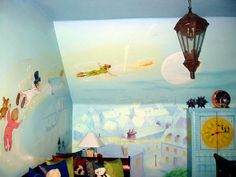 Peter Pan mural for playroom Peter Pan Bedroom, Peter Pan Nursery, Disney Peter Pan, Neverland Nursery, Disney Bedrooms, Disney Home, My Room, Kids Bedroom, Bedroom Ideas