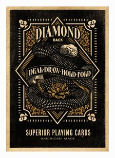 Diamondback Playing Cards design by Aaron Von Freter Font Design, Graphic Design Typography, Label Design, Design Art, Packaging Design, Graphic Pattern, Custom Playing Cards, Vintage Labels, Vintage Packaging