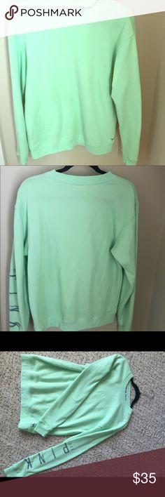 large sweatshirt from Victoria's Secret oversized mint green sweatshirt. very soft! even though it's an XS, it still fits me when I usually wear a size medium Victoria's Secret Tops Sweatshirts & Hoodies