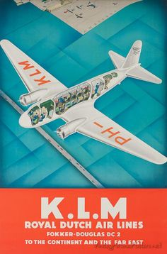 KLM Royal Dutch Air Lines vintage poster of Fokkker Douglas DC 2 #design #vintage