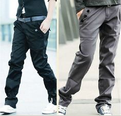 Men UK Style Slim Straight Casual Trousers/Pant