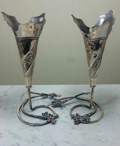 A pair of antique Iraqi silver vases. (early 20th century) Iraqi niello silver. الفضة العراقية القديمة