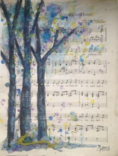 Bella Cosa Art Day 10 Trees on vintage sheet music