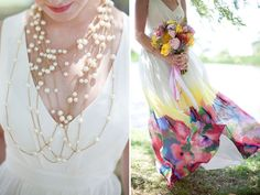 Layered pearl necklace + Watercolor edged dress - Underwater Garden wedding inspiration by  Dallas Curow Photography