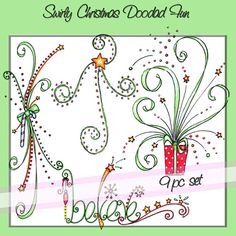 Sale Swirly Christmas Doodad Fun Downloadable Clip by atelieroz