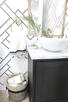 Powder bath black and white stenciled powder room with black cabinet, white vessel sink, marble counter and gold accents Bad Inspiration, Bathroom Inspiration, Bathroom Layout, Small Bathroom, Wall Paper Bathroom, Bathroom Ideas, Budget Bathroom, Bathroom Vanities, Bathroom Remodeling
