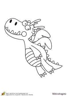 Ce dragon vient surement d'apprendre à voler, dessin à colorier