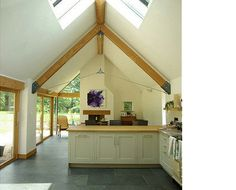 Possibly add roof lights to the living area to flood it with light & create a spacious & airy feel to the room Oak Framed Extensions, House Extensions, Bungalow Conversion, Single Storey Extension, Cottage Extension, Geodesic Dome Homes, Home Decor Lights, Patio Doors, Creative Home