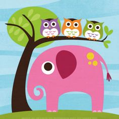 Elephant with Three Owls Art Print at AllPosters.com