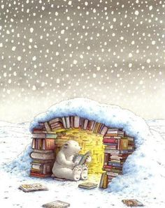 Cozy book in the snow
