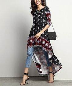 Loving this Black Abstract Hi-Low Tunic on #zulily! #zulilyfinds