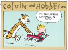 """Calvin and Hobbes QUOTE OF THE DAY (DA): """"It's true, Hobbes, ignorance IS bliss!"""" -- Calvin/Bill Watterson"""