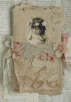 Mixed Media Fabric Collage Book of Little French Girls | eBay