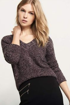 Turn your back on me. Make a hot exit with this stylish knitted sweater. Featuring a trendy back zipper and hot v-neck and back, you'll love showing off in this essential sweater no matter where you're headed. V-neck sweater with back zip by Dynamite now on sale. Afflink.