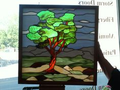 Stained Glass Tree Landscape SPECIAL SALE Was 36000 by MagicMoons, $300.00