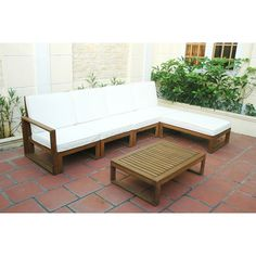 Jenner Wooden 6-Piece Outdoor Sofa Sectional Set, Seats 5: Patio Furniture : Walmart.com