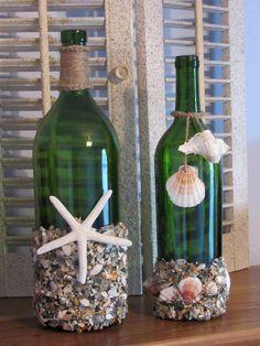 Items similar to Seashell Wine Bottle Decor / Wedding Wine Bottle Centerpieces on Etsy Recycled Wine Bottles, Wine Bottle Art, Glass Bottle Crafts, Painted Wine Bottles, Diy Bottle, Wine Bottle Lighting, Decorated Bottles, Wine Bottle Centerpieces, Wedding Wine Bottles