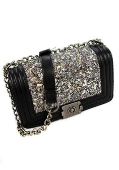 Gemstone Chain Crossbody Bag- Vintage-inspired Style Gemstone Chain Crossbody Bag