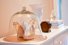 Have items that you love to death...but don't use them often? Display them in your room!   Jimmy Choo Gold Clue Shoe - Glass Bell Jar Dome