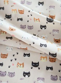 Lovely Cats' Face Pattern Cotton Fabric by Yard by luckyshop0228