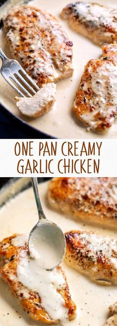One Pan Creamy Garlic Chicken Butter Chicken, Creamy Garlic Chicken, Garlic Chicken Recipes, Good Food, Yummy Food, Tasty, Eat This, How To Cook Chicken, Pan Cooked Chicken