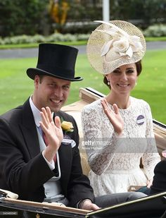 Prince William, Duke of Cambridge and Catherine, Duchess of Cambridge arrive in an open carriage to attend Day 2 of Royal Ascot on June 15, 2016 in Ascot, England.