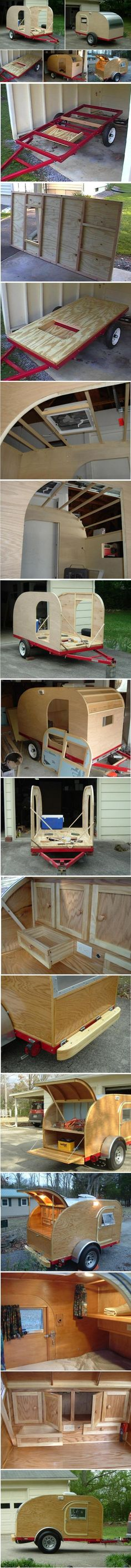 Construction d'une mini caravane ou teardrop trailer.