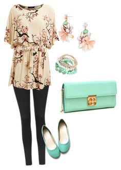 """""""Turquoise"""" by k-barre on Polyvore featuring Topshop, Ollio, Lipsy, BaubleBar, Dasein, Leggings and WardrobeStaples"""