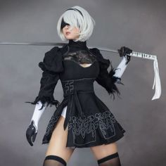 Chinese Size Nier Automata Yorha Cosplay Suit Anime Women Outfit Disguise Costume Set Fancy Halloween Girls Party Black Dress on AliExpress - Day Spring Dresses Casual, Black Party Dresses, Cute Cosplay, Cosplay Wigs, School Girl Japan, Straight Bangs, Cosplay Characters, Asia Girl, Hairstyles With Bangs