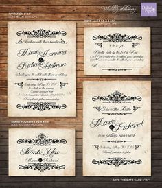 Vintage Wedding Invitation printables by DallinsPaperie on Etsy