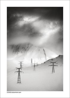 Pylons in the Snow by Ian Bramham, via Flickr