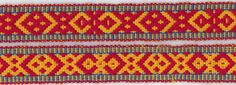 Weaving a Sámi band with 11 pattern threads. I saw this beautiful band in Oulu in the Northern Ostrobothnia . Inkle Weaving, Inkle Loom, Make Do And Mend, How To Make, Tablet Weaving Patterns, Durham, Red Pattern, Pattern Drafting, Heart Patterns