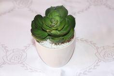 Mini cacto com vaso de porcelana branco. (ou acrílico, consultar disponibilidade, com alteração de preço) R$ 20,00