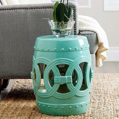 ABBYSON LIVING Moroccan Turquoise Ceramic Garden Stool | Overstock.com  Shopping   The Best Deals