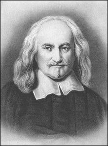 Volgens Thomas Hobbes waren mensen concurenten van elkaar, hij zei daarom ook 'homo homini lupus est' (de mens is voor zijn medemens een wolf.) Hij was een sterke voorstander van het absolutisme. Een staatsvorm waarin er één leider is die alle macht heeft. (1588-1679)
