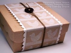 Kraft Paper Box, Hand Carved Stamp, White Ink, White Decorative Edged Paper Trim, Twine and a Single Black Button