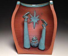 Nativité de poterie Creche crèche scène Noël artisanal contemporain à collectionner Sainte famille au sud-ouest moderne terre cuite Turquoise