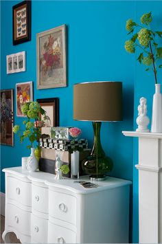 Love a bright, modern wall color with traditional furniture and accessories.