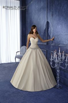 Style 17953, Victoria Jane for Ronald Joyce.   Satin ballgown with sweetheart neckline and dropped waist.  www.iconbridal.co.uk