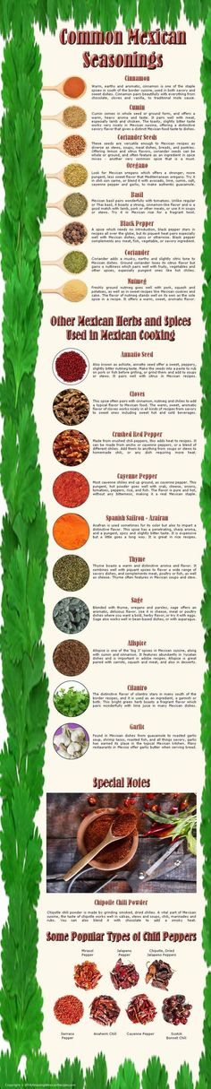 Infograph showing the different herbs, spices and seasonings commonly used in Mexican cooking. Layout for quick reference to what you need to know... #mexicanseasonings